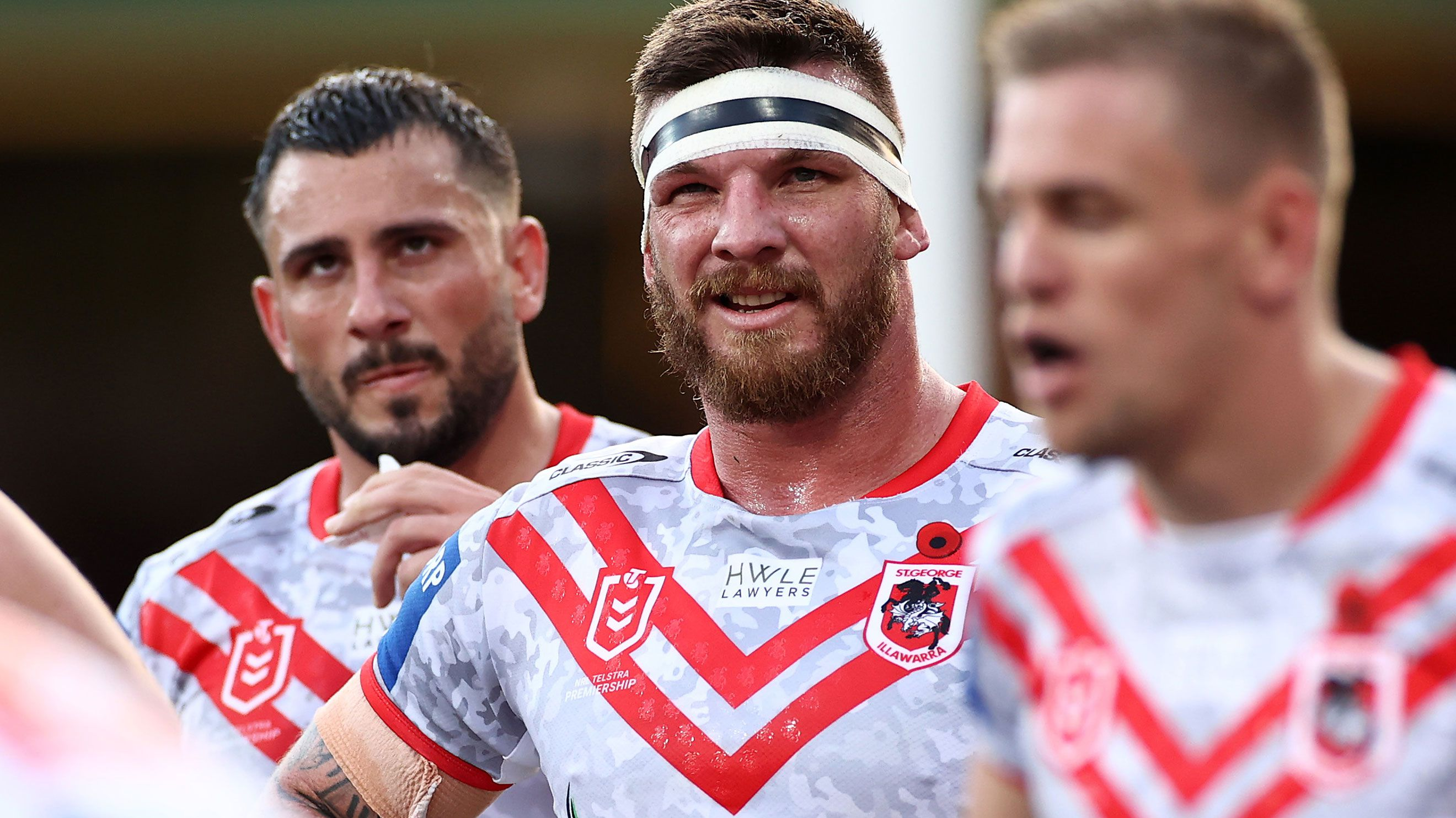 Dragons star Josh McGuire (centre) in the Dragons' Magic Round loss to Melbourne.