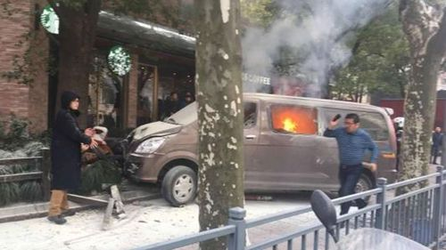 A van has struck pedestrians in China. (People's Daily China)