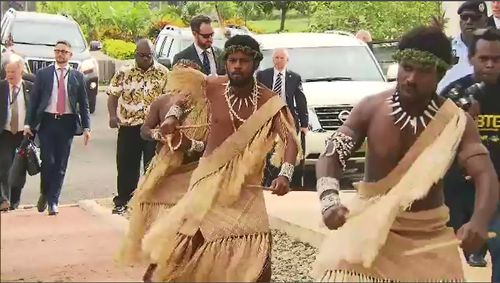 Traditional dancers were also on show for the Prince as he passed by. Picture: 9NEWS.