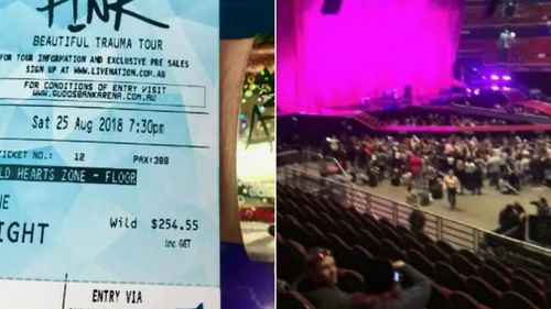 The ticket Marlena Katene paid for (left) and the place she was allowed to sit (right).