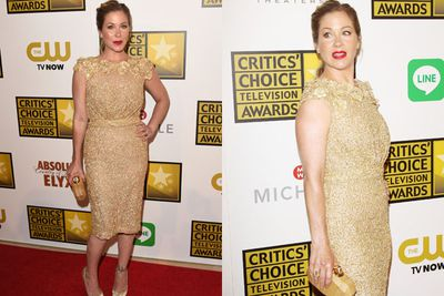 She looks like the gong! Christina Applegate proves she's a golden girl on the red carpet.