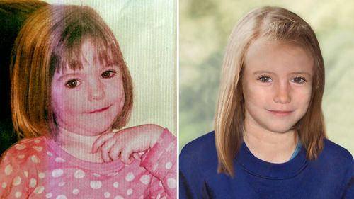 A picture of missing British girl Madeleine McCann taken when she was three years-old (L) and a computer generated handout image released by the Metropolitan Police Service showing Madeleine might have looked in 2012, aged 9.