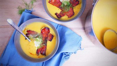 Winter warming pumpkin soup with candied bacon