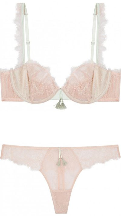 "<p><a href=""http://www.bendonlingerie.com.au/heidi-klum-intimates-bise-underwire-bra-peach-whip-celadon-h20-1203"" target=""_blank"">Bise Underwire Bra, $41.97</a>, and <a href=""http://www.bendonlingerie.com.au/heidi-klum-intimates-bise-thong-peach-whip-celadon-h37-1203-pwce"" target=""_blank"">Bise Thong, $20.97</a>, Heidi Klum Intimates</p>"