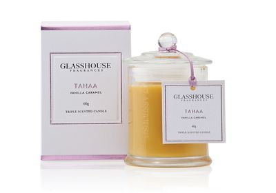 "<a href=""http://www.glasshousefragrances.com/tahaa-candle.html"" target=""_blank"">Tahaa – Vanilla Caramel Triple Scent Candle, $39.95,Glasshouse</a>"