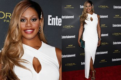 LGBTQ advocate Laverne is stunning in this figure-hugging cocktail dress.