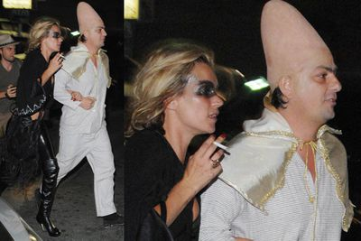 We're not sure Kate made much effort at all (isn't that what she always wears?) but hubby Jamie is rocking the conehead!