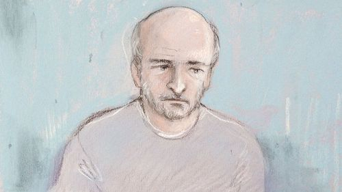 An artist's sketch of Edward Tenniswood, who denies he raped and murdered Ms Chipchase.
