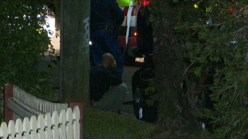 A man seen outside the Lalor Park home last night. (9NEWS)