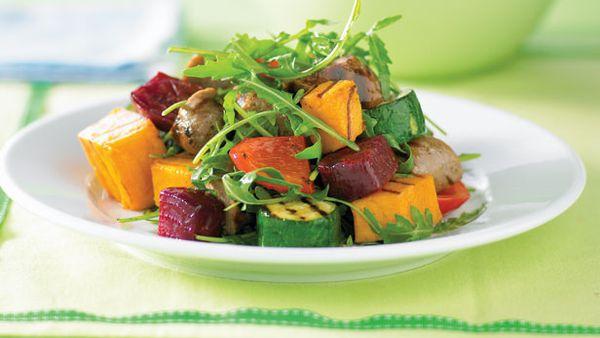 Sausage and grilled vegie salad