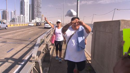 Campaigners on the Gold Highway asked drivers to honk for love and peace.