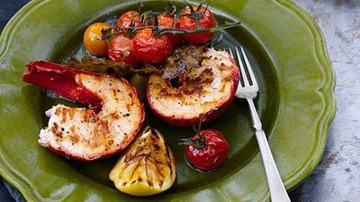 """<a href=""""http://kitchen.nine.com.au/2016/05/16/18/56/grilled-lobster-and-vine-leaves-with-confit-garlic-and-tomato"""" target=""""_top"""">Grilled lobster and vine leaves with confit garlic and tomato<br /> </a>"""