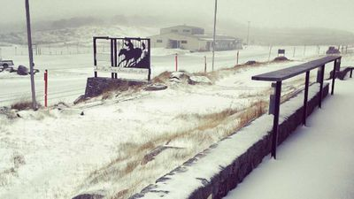 Snowfall in Perisher. (The Man From Snowy River Hotel)