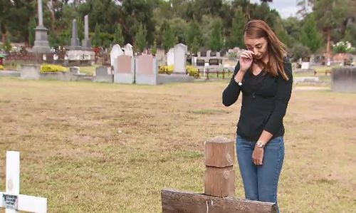 Devastated Cranbourne woman Belinda Sandham raised the alarm late yesterday after visiting her aunt's grave at Cranbourne Cemetery. (9NEWS)