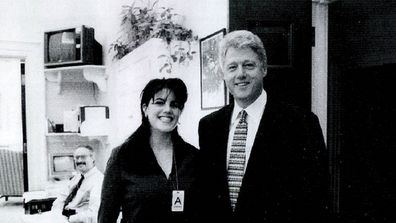 A photograph showing former White House intern Monica Lewinsky meeting President Bill Clinton at a White House function.