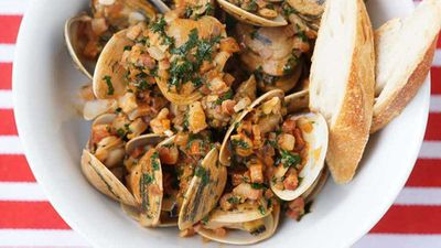 "Recipe:&nbsp;<a href=""http://kitchen.nine.com.au/2017/09/15/14/36/surf-clams-with-onion-pancetta-and-paprika"" target=""_top"">Surf clams with onion, pancetta and paprika</a>"