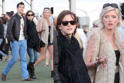 The friend wins the prize for 'biggest hipster'.<br/><br/>Woodstock wannabes: Hollywood stars dress up to look dressed down as they mingle with the crowd at US music festival Coachella.