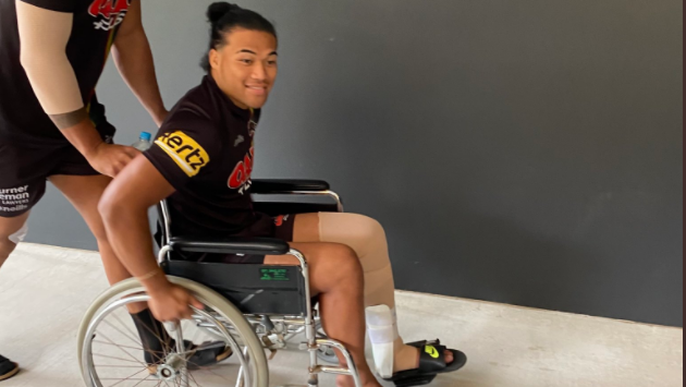 Penrith winger Brian To'o rocked up to media day in a wheelchair.