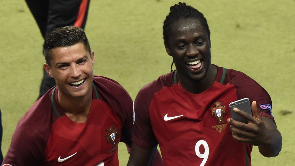 Cristiano Ronaldo, left, with Eder (AFP)