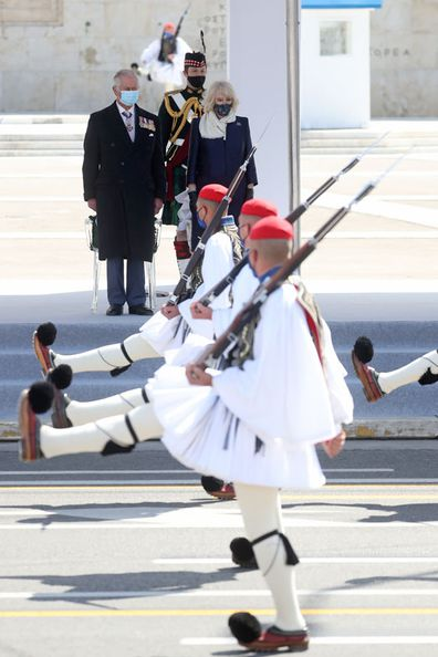 Prince Charles, Prince of Wales and Camilla, Duchess of Cornwall attend the Greek Independence Day Military Parade at Syntagma Square on March 25, 2021 in Athens, Greece.