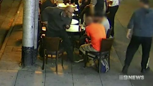 CCTV from the attack outside the St Kilda bar. (9NEWS)