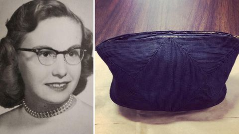 A school photo of Martha Everett (then Martha Ina Ingham) and the purse she lost in the 1950s.