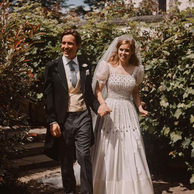 Princess Beatrice and Edoardo Mapelli Mozzi are photographed after their wedding in the grounds of Royal Lodge on July 18, 2020 in Windsor, United Kingdom