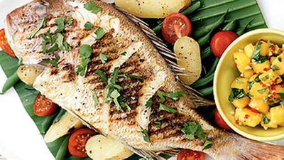 """Some more seafood on the grill with our&nbsp;<a href=""""http://kitchen.nine.com.au/2016/05/19/12/51/snapper-with-mango-salsa"""" target=""""_top"""">Snapper with mango salsa</a>&nbsp;recipe"""
