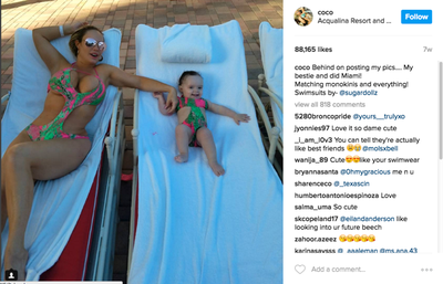 Bathing beauties: lingerie model and fitness guru Coco lounging with her baby girl in matching bathers.