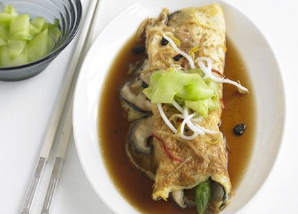 Asparagus and shiitake omelette with black bean and ginger broth and pickled cucumber