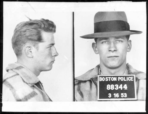 James 'Whitey' Bulger pictured after an arrest in 1953 when he operated out of South Boston.