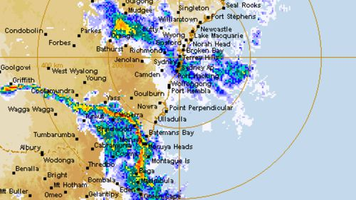 Rain is falling on much of the NSW coast as large parts of the state brace for a severe thunderstorm.