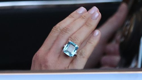 Prince Harry also gifted his wife a baby blue, finely-cut gemstone ring on the day, which is believed to have been previously owned by his mother Princess Diana. Picture: PA