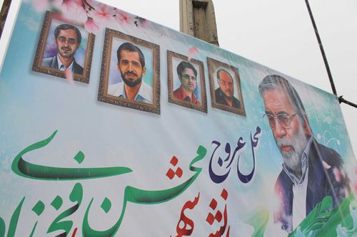 Fakhrizadeh depicted with four other Iranian nuclear scientists - from left: Majid Shahriari, Mostafa Ahmadi Roshan, Dariush Rezaei-Nejad, Massoud Ali Mohammadi - who Tehran says have been assassinated previously.