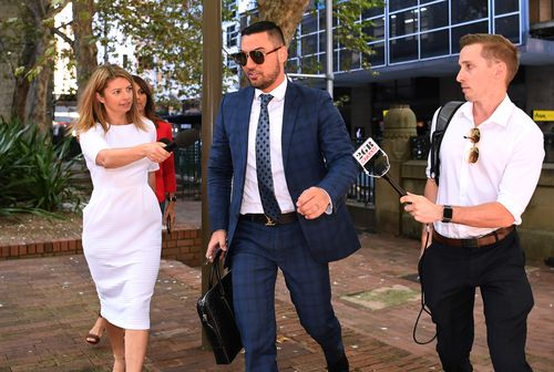 Salim Mehajer walking into Sydney court this morning, where he was convicted of electoral fraud. (Supplied)