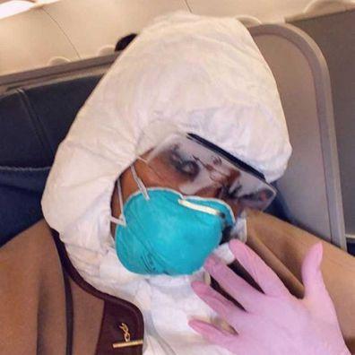 Naomi Campbell posts selfie on board flight.