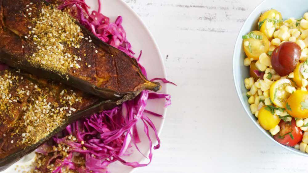 Roast turmeric cinnamon dukkah eggplant on pickles red cabbage recipe