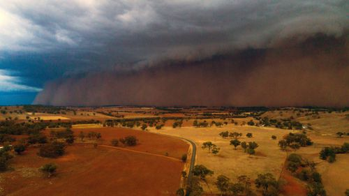 A dust storm rolls in west of Orange, NSW, on Sunday.