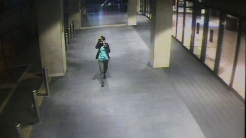 Prabha Arun Kumar leaves Parramatta train station after returning from work on Saturday. (NSW Police)