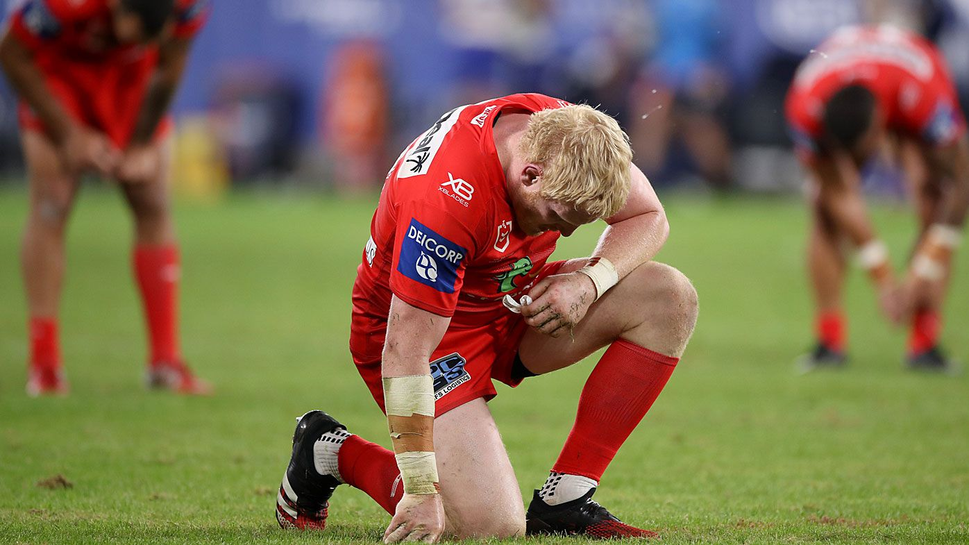 James Graham of the Dragons reacts after losing the round four NRL match