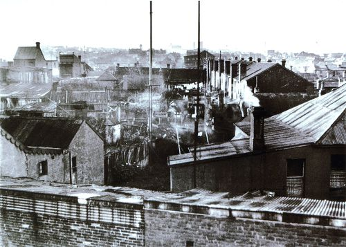 View across Erskineville backyards showing sewer venting pipes and washing on clothes lines in 1936.