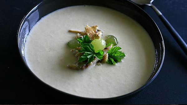 Almond gazpacho with blue swimmer crab and grapes