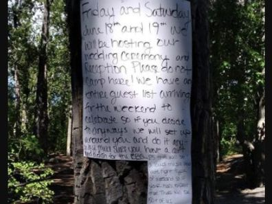 The bride-to-be's handwritten note demanding public camping space for her wedding reception.
