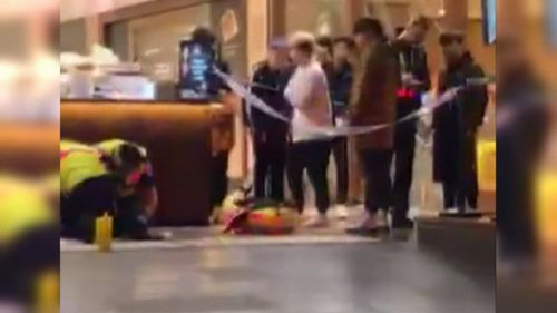Shoppers watched on in horror as the violence broke out. Picture: 9NEWS