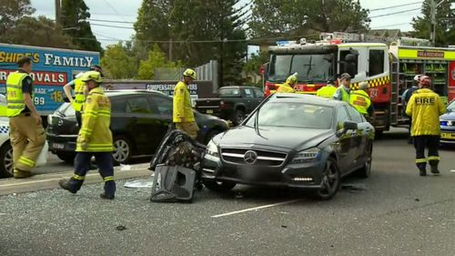 Emergency crews attend the scene of the crash, which has left Gai Vieira in hospital.