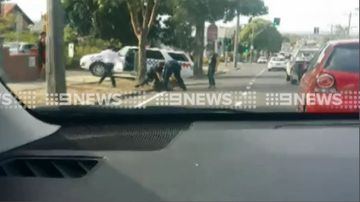 Man arrested outside of a Geelong school. (9NEWS)