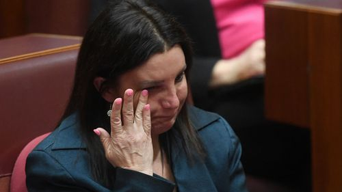Ms Lambie made an emotional address to parliament after her dual citizenship was confirmed (Image: AAP)