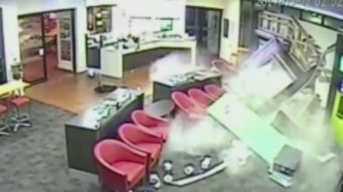 CCTV captured the stolen BMW smash through the Laverton Club Hotel. (9NEWS)