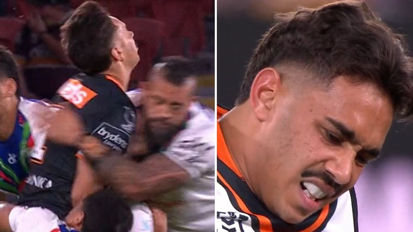 Daine Laurie suffers season-ending broken leg as Wests Tigers lose to Warriors