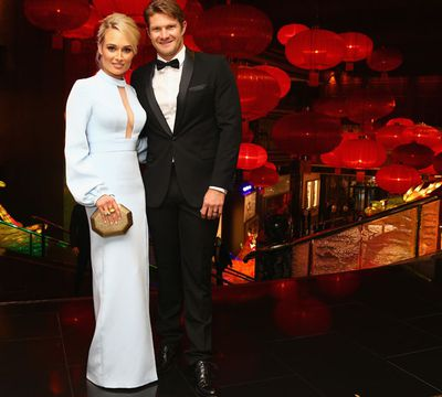 There were no nerves on show from Shane Watson and his wife, Lee.
